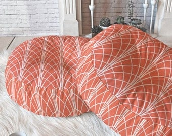 Geometric Floor Pillow // Round and Square // Coral // Persimmon // Modern Living // Arcada Design // Dorm Decor // Home Decor // Modern