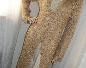Vintage Lacey Pale Gold Knit Sweater Duster Cardigan Coat Robe Amazing!  Size S/M Maxi