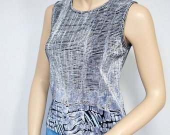 Silver Grey Shell Top Vintage Blouse Sleeveless Stretch Women's Shell Blouse Size Small
