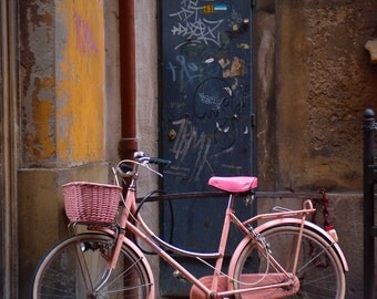 Pink Bicycle in Lucca, Italy A Fine Art Photograph