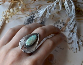 Heart Planchette Turquoise Statement Ring