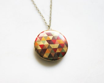 Colorful Geometric Locket Necklace, Graphic Triangle Locket, Neon Pendant Charm Locket, Bridesmaid Gifts, Colorful Wedding Gifts