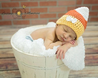 Candy Corn Hat, Baby Halloween Hat, Crochet Beanie Fall Candy, Photography Prop