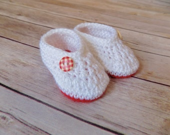 Newborn Baby Girl Booties White Baby Shoes Crochet Girl Socks