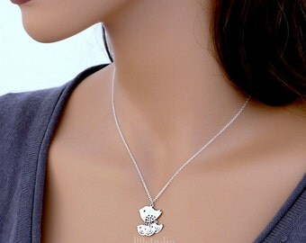 Mother bird necklace gift, family jewelry, sterling silver chain small charm pendant, Mama 1 2 3 three baby birds mom love kid, B9studio