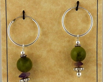Irish Connemara Marble with Amethyst Sterling Silver Hoop Earrings