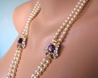 Bridal Backdrop Necklace, Amethyst, Purple, Art Deco, Great Gatsby Jewelry, Downton Abbey, Pearl Necklace, Backlace, Purple Bridal Jewelry