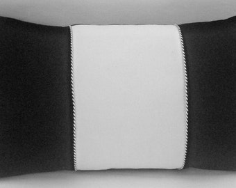 Black and white cotton lumbar pillow with cording 20 x 12 inches