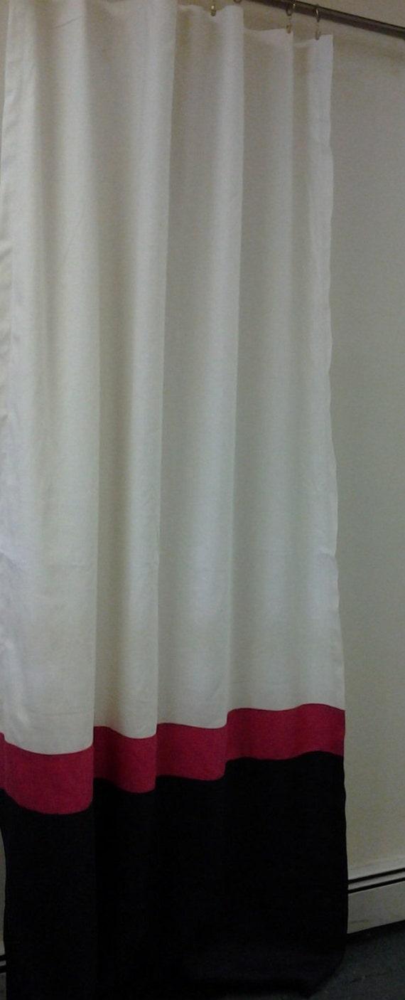 Pair Of Color Block Rod Pocket Linen Curtain By Kirtamdesigns