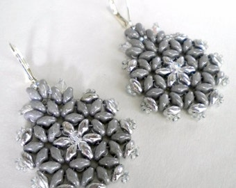 Earrings Smoky Gray and Chrome Beadweaving Hand Stitched