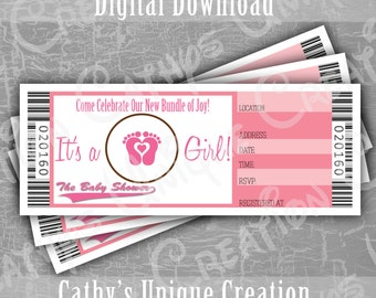 Baby Girl Shower Invitation Tickets Baby Shower Invitations Pink Printable Letter A4 INSTANT DIGITAL download sports theme baseball football