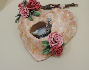 Heart Wall Decor, Shabby Style, Wall Art, Mache Heart, Original Art, Roses and birds, Wedding Gift, Mixed Media art