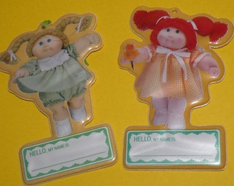2 Cabbage Patch Kids Name Tags 1985