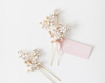 Wedding Hair pins, Flower hair pins, Crystal hair pins, Bridal Hair pins, Wedding Hair Accessory - Style 507
