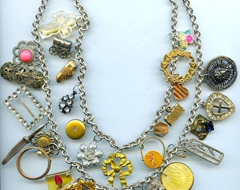 Vintage Boho Charm Necklace With 33 Collectibles As Charms