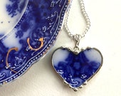 Broken china heart pendant necklace Antique 1880s English Flow Blue broken china jewelry