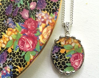 Broken china jewelry oval pendant antique Hazel chintz royal winton daffodil pink rose