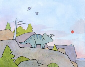 Cute Triceratops Dinosaur Art Print for kids 8x10