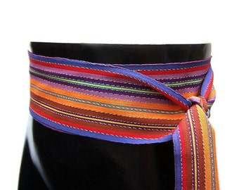 Radiant Rainbow Belt SA57 - Woven Sash - Bohemian Accessories - Boho Gypsy Clothing - Ikat Fabric Sash - Hippie Belt - Guatemalan Textiles