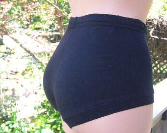 High Waist Pin-up Pantie/Booty Short  Black Cotton/Lycra FREE SHIPPING!!