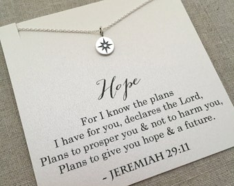 Jeremiah 29:11 Necklace, Graduation Gifts for Girls, Gifts for Christian Women, Silver Compass Necklace, Christian Jewelry, Baptism, SC1