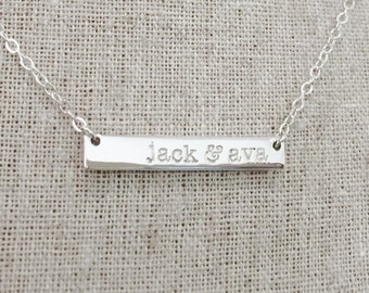 Custom Sterling Silver Shiny Bar Necklace