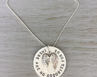 Sterling Silver Custom Wing Necklace  -   Angel Memory - No Goodbyes