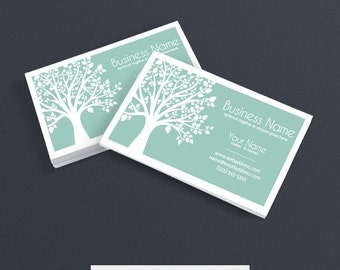 Business Card Designs - Printable Business Card Design - Nature Themed Business Card - Wellness Business Card Design - Tree 1