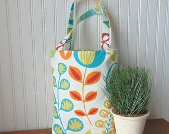 Tote Bag, Floral Tote Bag, Cotton Tote Bag, Book Bag, Canvas Tote Bag, Handbag, Purse, Gift Idea for Her