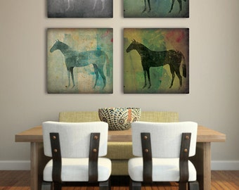 CHOOSE Your Color graphic THE HORSE Stretched Canvas Wall Art by Native Vermont Studio Signed