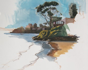 East Bay, Oakland, CA - original Gouache Sketch  (LD 111)