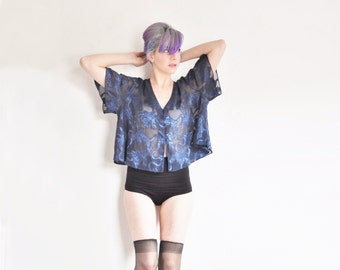 sheer navy lingerie blouse . fluttery ribbon nightgown top .medium.large