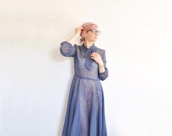 1940 sheer swiss dot secretary dress . navy blue white polka dot print .medium .sale