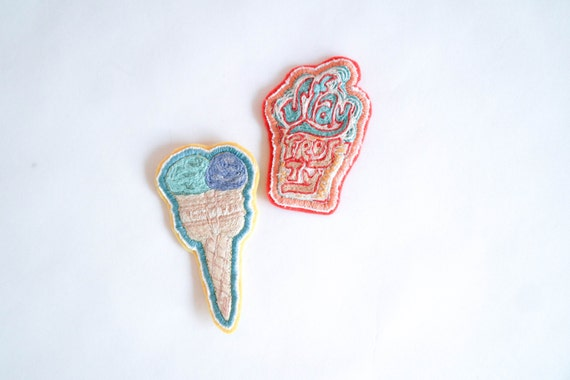 Twin Scoop Ice Cream Hand Embroidered Patch
