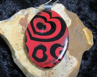 Fused Glass Pendant - Fused Glass Jewelry - Fused Glass Necklace - Fused Glass UK -Red Glass Pendant - Heart Pendant
