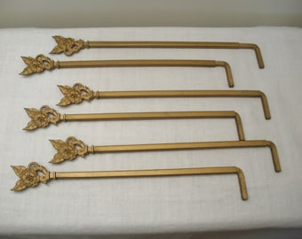 Vintage 3 Pair Gold Swing Arm Curtain Rods - Flower Ends