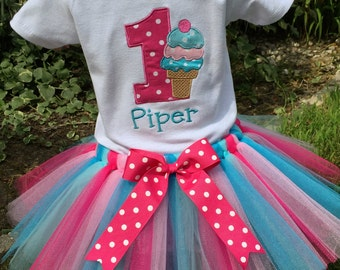 Ice Cream Social Birthday Tutu Set... Includes Tutu and Embroidered Top.