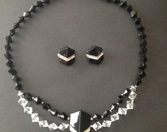Trifari Black and Clear Bead Necklace and Earrings Pierced Rhinestones Chevron