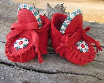 """Newborn Moccasins By Desi, Red Deerskin Leather, 3"""" long, Infant, Girl, Flower Beaded Outfit shoes, Baby, Aztec, Tribal, Christmas, Holiday"""