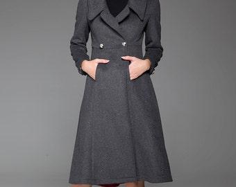 Long coat, wool coat, gray coat, gift for women, double breasted coat, winter coat, warm jacket, jacket women, custom clothing 1428
