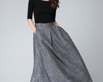 grey skirt, maxi skirt, long skirt, pleated skirt, Gray skirt, linen clothing, Custom skirt, long skirt, handmade skirt, A line skirt 1506