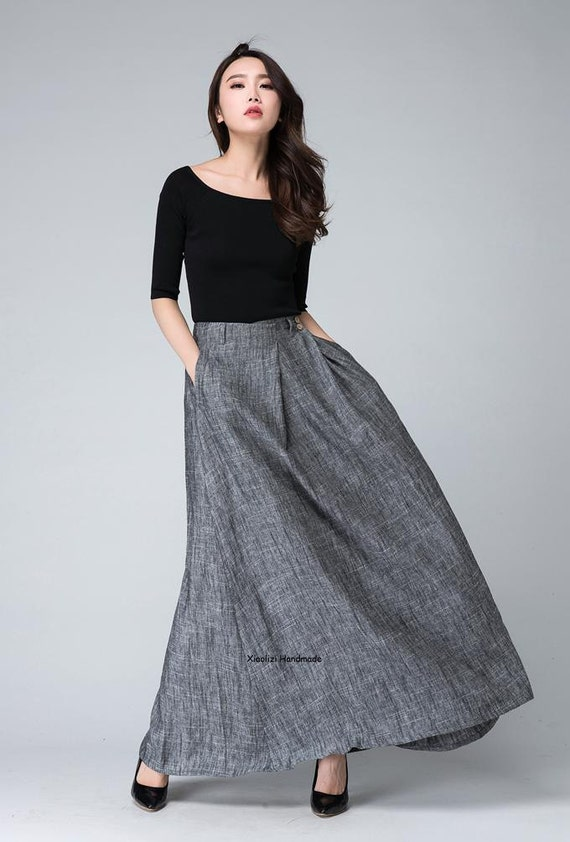 grey skirt maxi skirt long skirt pleated skirt Gray skirt