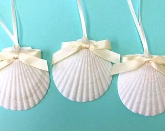 Beach Ornaments - 3 Scallop Shells Glittered - Choose from 5 Ribbon Colors - Christmas ornaments coastal sea shells seashells