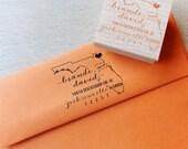 Florida Address Stamp - Custom Wooden Handle Return Address Stamp, State Return Address Stamp,  Wedding address stamp, Housewarming Gift