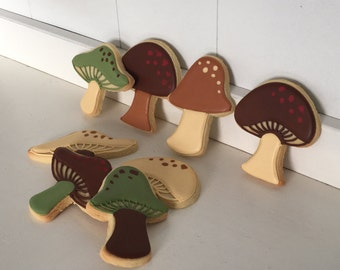 Woodland Mushrooms Hand Decorated Cookies - 1 Dozen