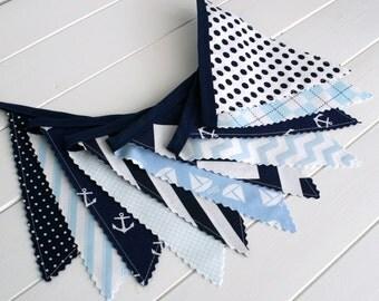 Bunting Banner,Photography Prop,Fabric Flags,Nautical Nursery Decor,Birthday Decoration,Navy Blue,Light Blue,Chevron,Anchors,Boats,Nautical