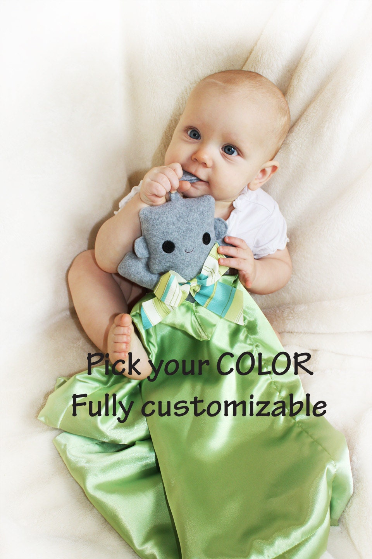 Gray Robot Security Blanket Lovey Blanket Satin Baby