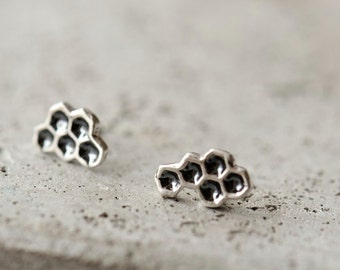 Honeycomb ear crawlers, ear climbers, sterling silver studs, post earrings