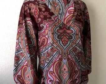 Vintage Women's 70's Paisley Blouse, Burgundy, Polyester, Long Sleeve (M)