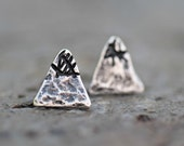 STUDS SALE - Sterling Silver Mountain Peak Stud Earrings - Post Earrings - Adventure - Move Mountains - For Her - Outdoors